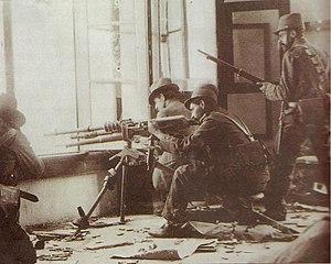 Español: Decena trágica. Soldados sublevados e...