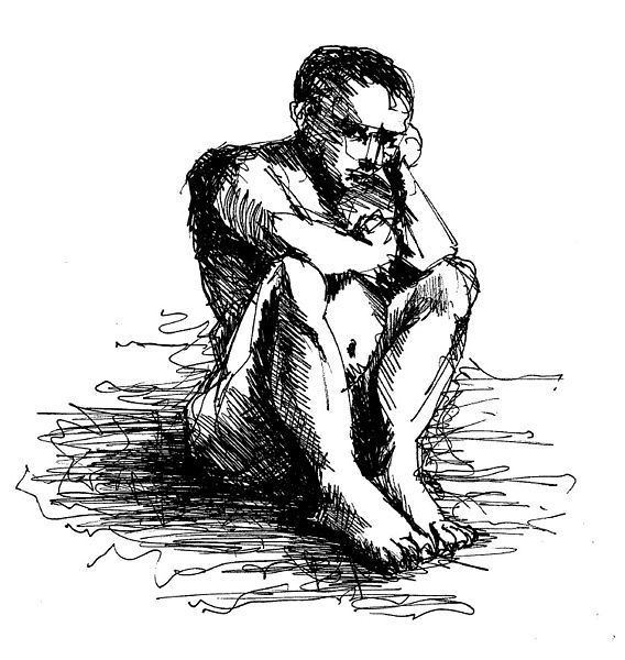 File:Deep Thinking by Wissam Shekhani, ink on paper.JPG