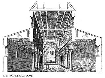 Reconstruction of the Romanesque church interior of the Konstanz Minster (Dehio / Bezold, Kirchliche Baukunst des Abendlandes, 1887)