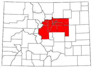Denver metropolitan area - Location of the Denver-Aurora-Lakewood, CO Metropolitan Statistical Area