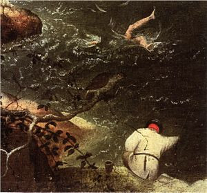 Landscape with the Fall of Icarus - Icarus and the angler