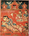 Detail of a leaf with, The Birth of Mahavira, from the Kalpa Sutra, c.1375-1400. gouache on paper. Indian.jpg