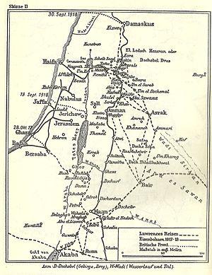 Nordsinai, Palästina, Jordanien und Südsyrien während des Ersten Weltkriegs (nach T. E. Lawrence)