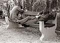 Dijaka sta med pripravami na popravni izpit zaspala v mestnem parku 1955.jpg