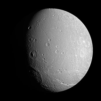 A NASA cassini image of dione a moon of Saturn.