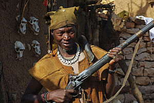Flintlock - A Dogon hunter with flintlock musket, Mali, 2010