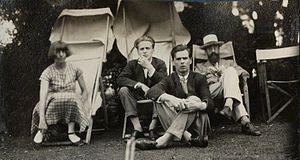 Stephen Tomlin - Lady Ottoline Morrell (1873-1938), vintage snapshot print/NPG Ax142600. Dora Carrington; Stephen Tomlin; Walter John Herbert ('Sebastian') Sprott; Lytton Strachey, June 1926