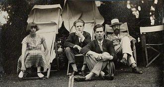 Lytton Strachey - Lady Ottoline Morrell (1873–1938), vintage snapshot print/NPG Ax142600. Dora Carrington; Stephen Tomlin; Walter John Herbert ('Sebastian') Sprott; Lytton Strachey, June 1926