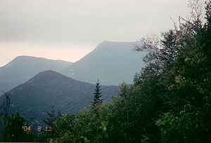 Doubletop Mountain (Maine) - Westward view from OJI to Doubletop before Storm August 12, 2004