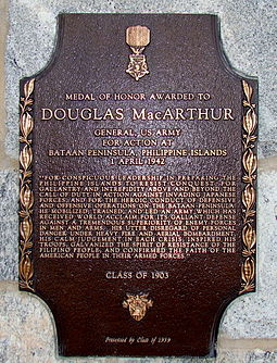 A plaque inscribed with MacArthur's Medal of Honor citation lies affixed to MacArthur barracks at the U.S. Military Academy Douglas MacArthur MOH Plaque, USMA.JPG