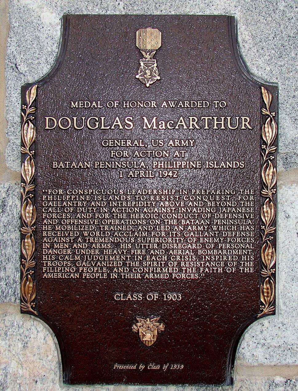 Douglas MacArthur MOH Plaque, USMA
