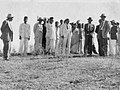 Dr. Ambedkar while inspecting the land for Milind College, Aurangabad with Dadasaheb Gaikwad, Savita Ambedkar and other activists.jpg