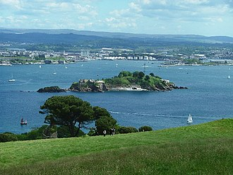 Mount Edgcumbe Country Park - View from Mount Edgecumbe Park across Plymouth Sound to Drake's Island