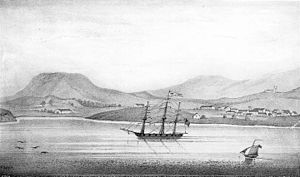 Presidio of Santa Barbara - Drawing of the presidio of early Santa Barbara, ca.1839