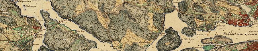 Drottningholmsvägens hele strækning fra Kungsholmen i øst til Drottningholm i vest på Wilhelm Maximilian Carpelans kort fra 1817.