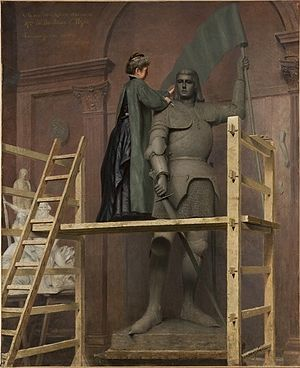 1900 in art - Image: Duchesse Anne D'Uzes working on a sculpture of Jeanne D'Arc 1900