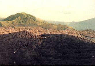 Dukono - ash-blanketed crater floor of Dukono