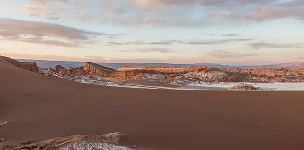 View at dusk of one of the highlights in Valle de la Luna, the Great Dune, San Pedro de Acatama, northern Chile.