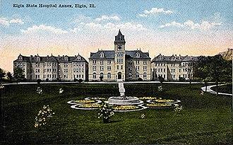 Elgin Mental Health Center - Postcard image of the Annex building at Elgin State Hospital.