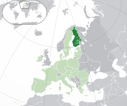 Location of  Finland  (dark green)– in Europe  (green & dark grey)– in the European Union  (green)  —  [Legend]