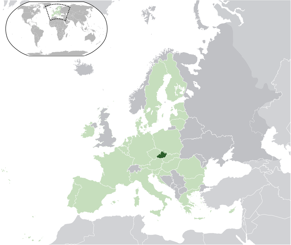 Location of Moravia in the European Union