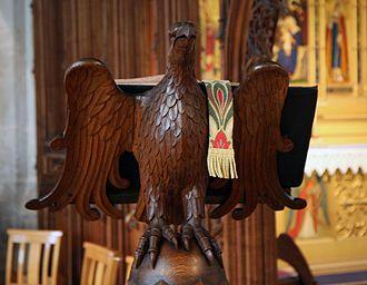 Eagle lectern - Eagle lectern at St Nicholas Church, Blakeney, Norfolk, England