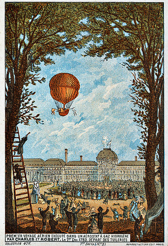 Robert brothers - The world's first manned hydrogen balloon flight. 1783