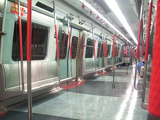 Kowloon–Canton Railway - Interior of a refurbished Metro Cammell EMU on the East Rail Line