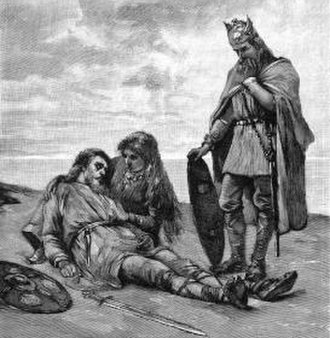 Reincarnation - Sváfa holding the dying Helgi in their first incarnation of three, as depicted in an illustration published in 1893