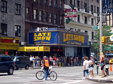 CBS's Ed Sullivan Theater in Manhattan, former home of the Late Show with David Letterman. Now houses The Late Show with Stephen Colbert. Ed sullivan theater.jpg