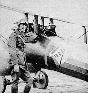 Nieuport 28 - Rickenbacker with his Nieuport 28 – note offset guns