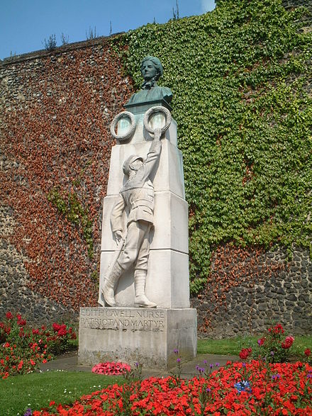 Memorial to Cavell outside Norwich Cathedral Edith Cavell monument.JPG