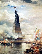 Edward Moran's 1886 painting, The Statue of Liberty Enlightening the World, depicts the unveiling of the Statue of Liberty.