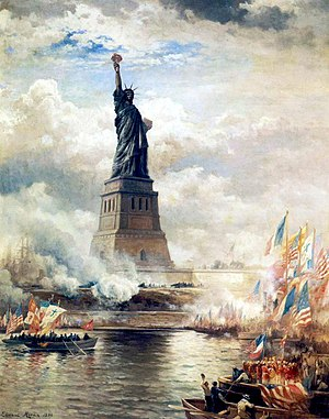 1886 in architecture - Unveiling of the Statue of Liberty Enlightening the World (1886) by Edward Moran. Oil on canvas. The J. Clarence Davies Collection, Museum of the City of New York.