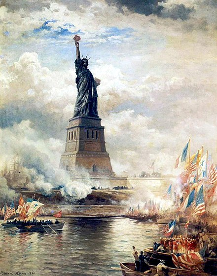 Unveiling of the Statue of Liberty Enlightening the World (1886) by Edward Moran. Oil on canvas. The J. Clarence Davies Collection, Museum of the City of New York. EdwardMoran-UnveilingTheStatueofLiberty1886Large.jpg