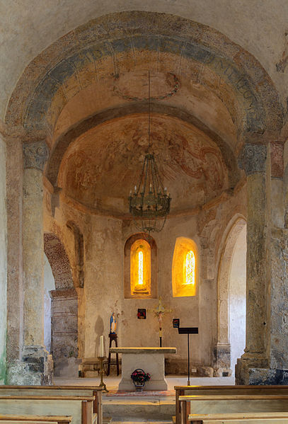 Saint Martin's Church of La Capelle (interior), La Canourgue, Lozère, France