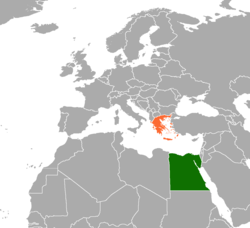 Map indicating locations of Egypt and Greece