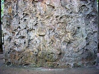 El Chal - Badly eroded lower panel of Stela 4, depicting three kneeling captives