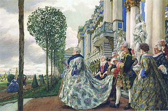 Pushkin, Saint Petersburg - Empress Elizabeth of Russia in Tsarskoye Selo (Eugene Lanceray, gouache, 1905)