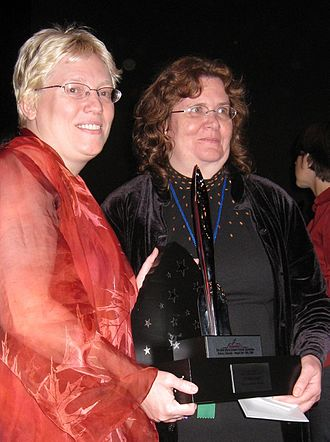 Sheila Williams - Elise Matthesen (left) and Sheila Williams, at the 2008 Hugo Awards ceremony. Williams is holding Elizabeth Bear's Hugo award