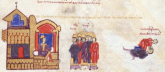 Nikephoros Komnenos - Emperor Constantine VIII (left) orders the blinding of Nikephoros Komnenos (right), miniature from the Madrid Skylitzes