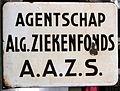 Enamel advertising sign, agentschap Algemene Ziekenfonds AAZS.JPG