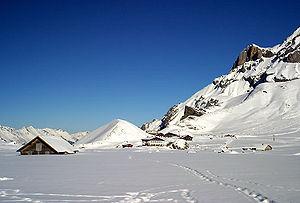 Engstligenalp plateau in winter.