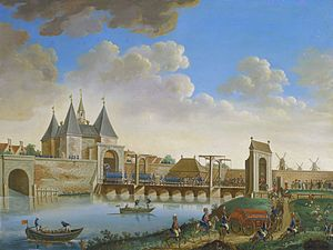 Prussian invasion of Holland - Prussian troops entering the Leidsepoort of Amsterdam on 10 October 1787.