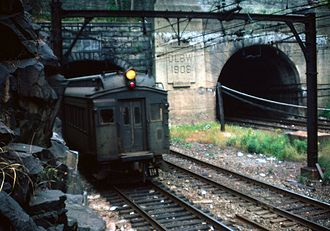 Delaware, Lackawanna and Western Railroad - Erie Lackawanna MU leaving the Bergen Hill Tunnels, 1981