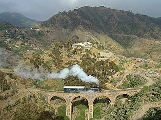 Eritrean Railway - Eritrean railway, that now connects only Massawa and Asmara, showing a class 440 locomotive at work on the mountainous section between Arbaroba and Asmar