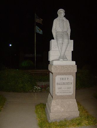 Duncan, Oklahoma - Erle P. Halliburton's Memorial Statue in Memorial Park in Duncan, at night