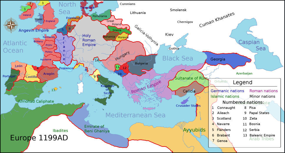 Europe 1199ad political map