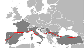 Map of E 80 within Portugal, Spain, France, Italy, Croatia, Montenegro, Kosovo[a], Serbia, Bulgaria and Turkey.