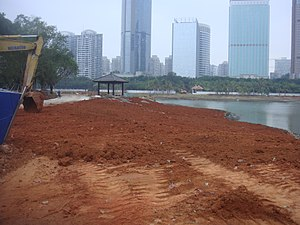 Evergreen Park (Haikou) - A view of the lake looking north during renovations
